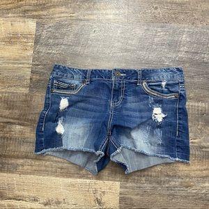 Maurices Dark Wash Distressed Jean Shorts 9/10